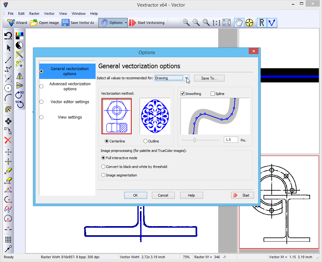 Raster To Vector Conversion Software Vextractor Vectorize