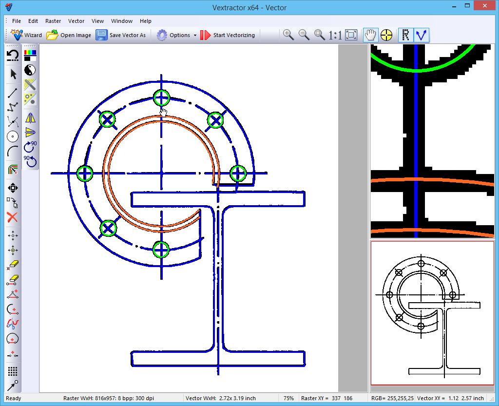 Raster To Vector Conversion Software Vextractor Vectorize